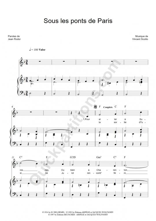 Partition piano Sous les ponts de Paris - Lucienne Delyle