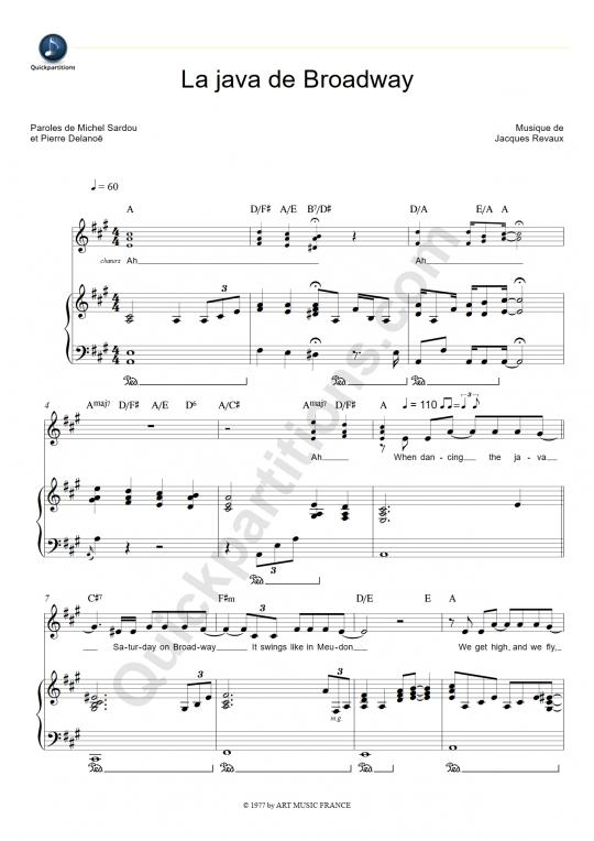 Partition piano La java de Broadway - Michel Sardou