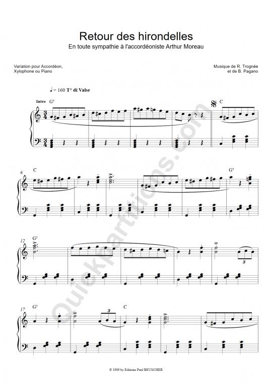 Retour des hirondelles Accordion Sheet Music - Yvette Horner