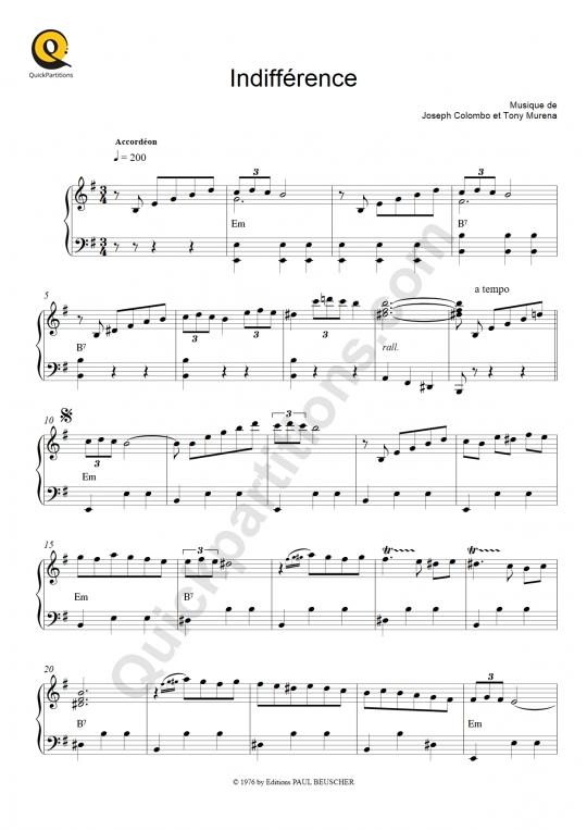 Indifférence Accordion Sheet Music - Tony Murena