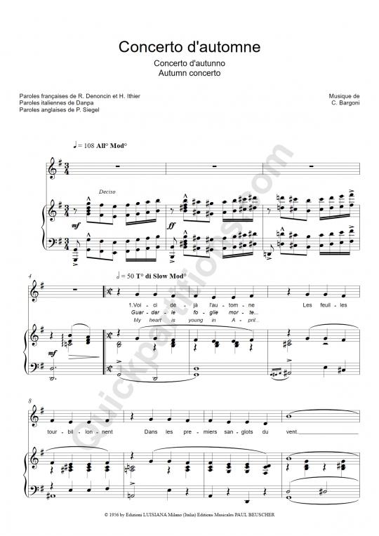 Partition piano Concerto d'automne (concerto d'autunno, autumn concerto) - Tino Rossi
