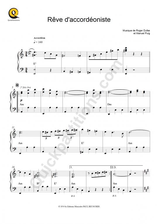 Partition accordéon Rêve D'accordéoniste - Yvette Horner