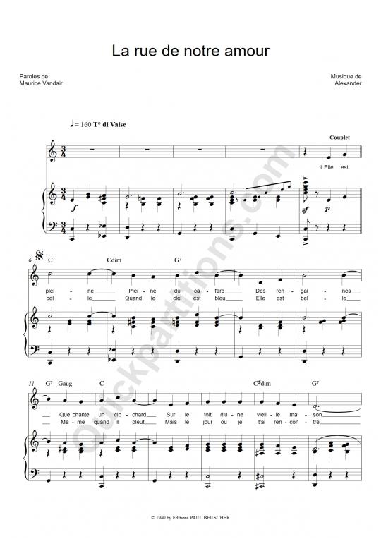 Partition piano La rue de notre amour - Damia