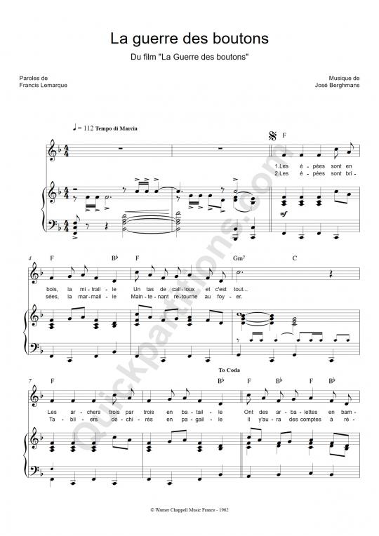 Partition piano La guerre des boutons - Francis Lemarque