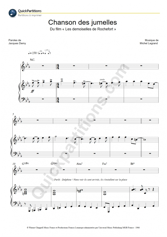 Chanson des jumelles Piano Sheet Music - Michel Legrand
