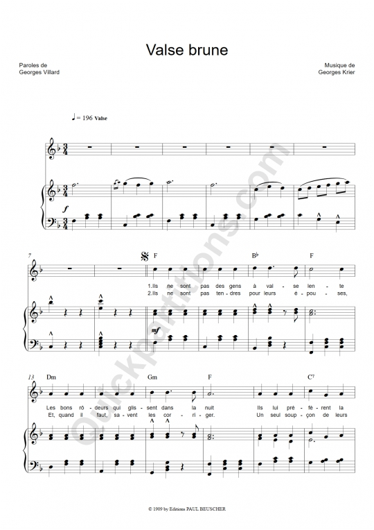 Partition piano Valse brune - Lucienne Delyle