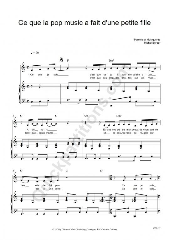 Partition piano Ce que la pop music a fait d'une petite fille - Michel Berger