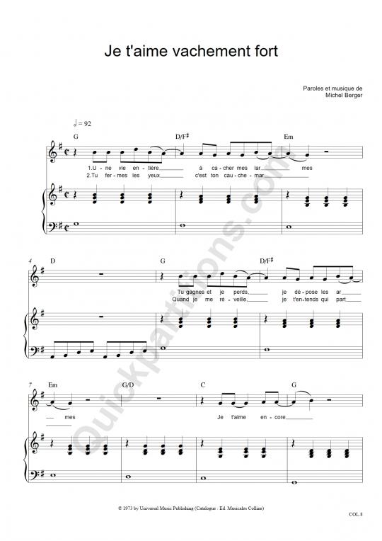 Partition piano Je t'aime vachement fort - Michel Berger