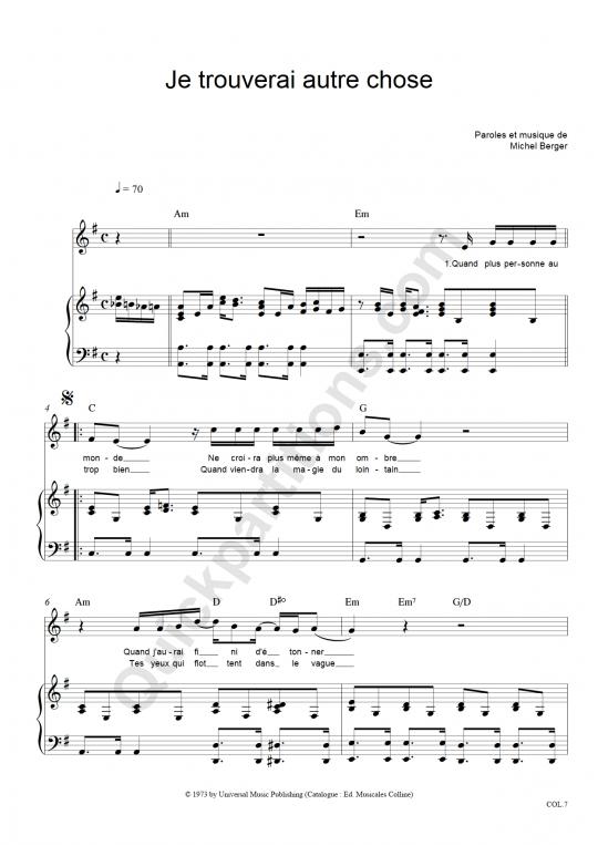 Partition piano Je Trouverai Autre Chose - Michel Berger