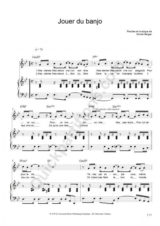 Partition piano Jouer du banjo - Michel Berger