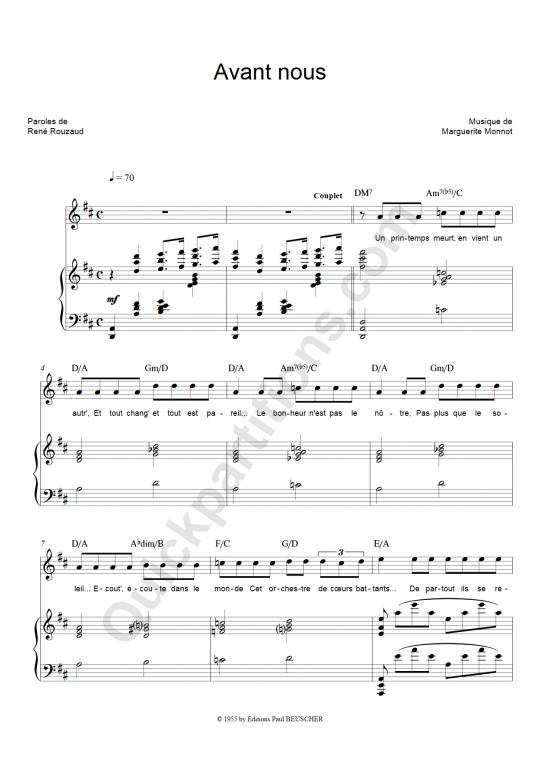 Partition piano Avant Nous - Edith Piaf