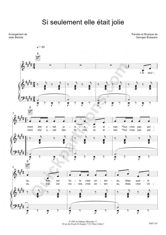 Partition piano Si seulement elle était jolie - Georges Brassens