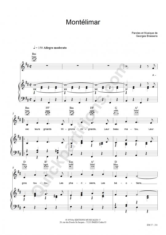 Partition piano Montélimar - Georges Brassens