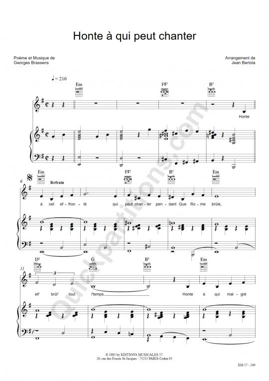Partition piano Honte à qui peut chanter - Georges Brassens
