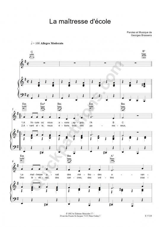 Partition piano La maitresse d'école - Georges Brassens