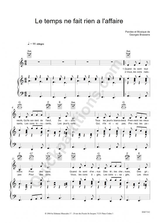 Partition piano le temps ne fait rien l 39 affaire georges - Les amoureux des bancs publics paroles ...