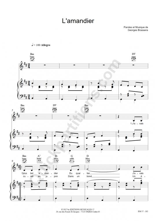 Partition piano L'amandier - Georges Brassens