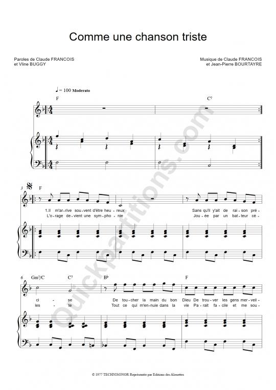 Partition piano Comme une chanson triste - Claude Francois