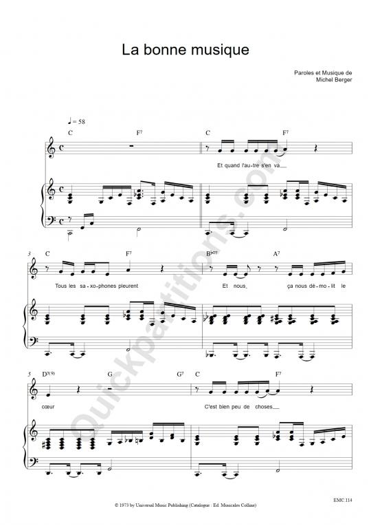 Partition piano La bonne musique - Michel Berger