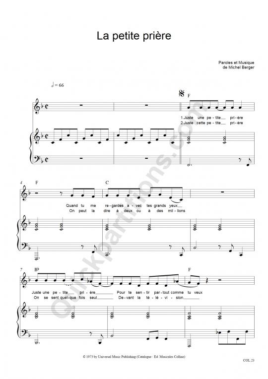 Partition piano La petite prière - Michel Berger