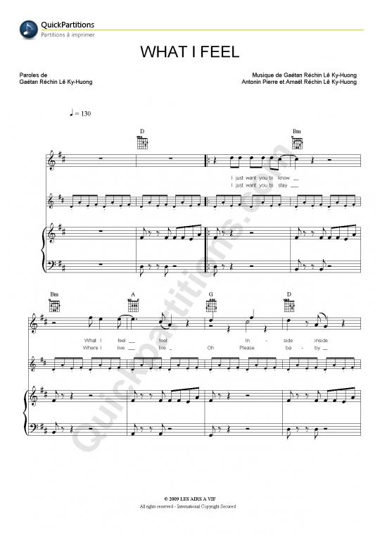 What I Feel Piano Sheet Music - Pony Pony Run Run