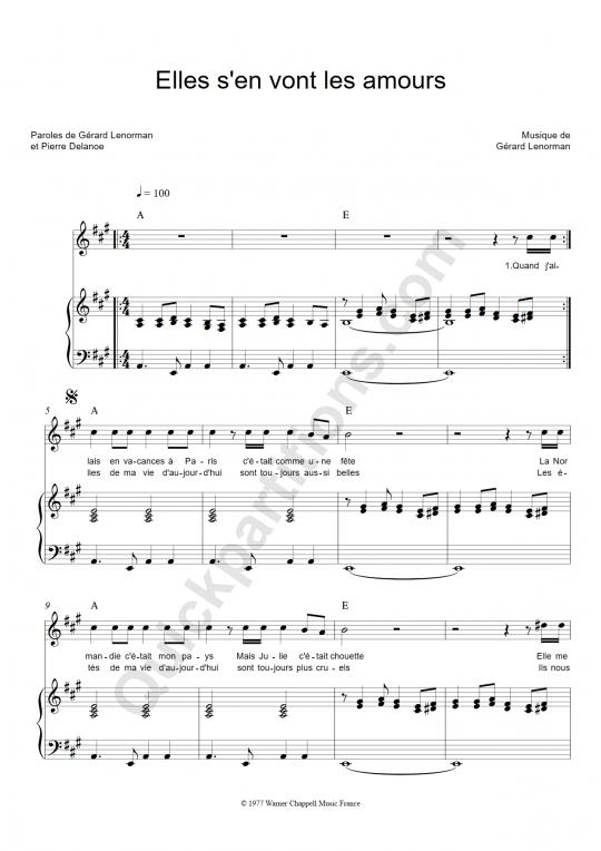 Partition piano Elles s'en vont les amours - Gérard Lenorman