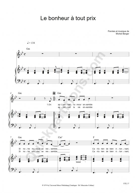 Partition piano Le bonheur à tout prix - Michel Berger