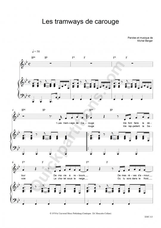 Partition piano Les Tramways De Carouge - Michel Berger