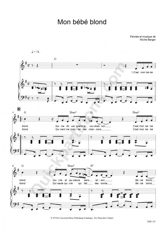 Partition piano Mon Bébé Blond - Michel Berger