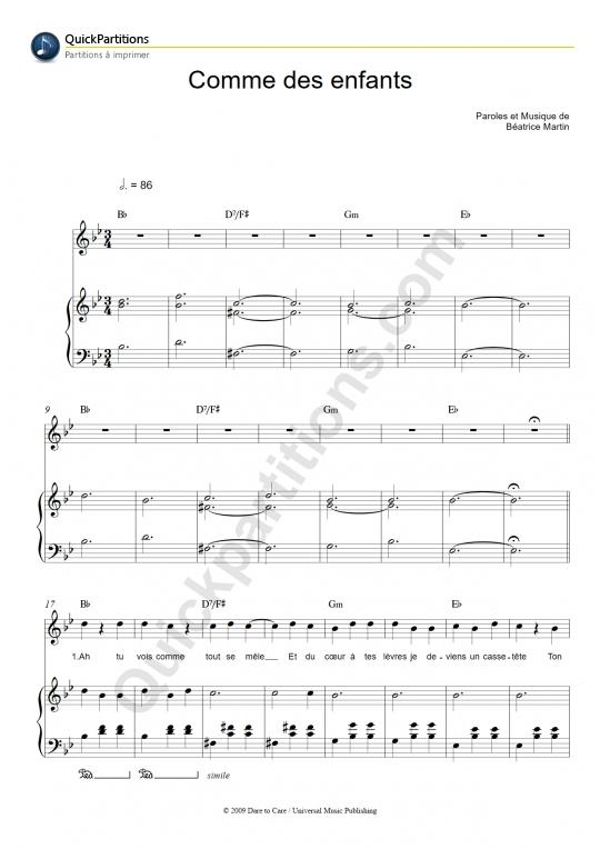 Partition piano Comme des enfants - Coeur de pirate