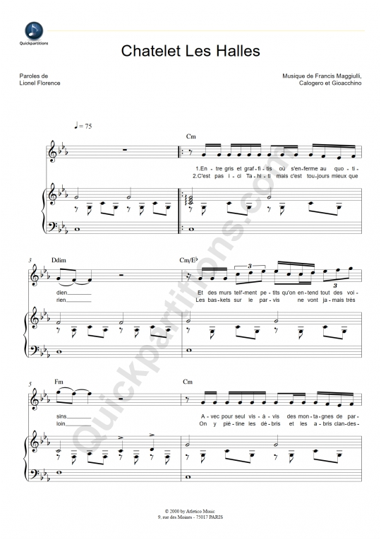 Chatelet Les Halles Piano Sheet Music - Florent Pagny