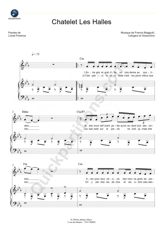 Partition piano Chatelet Les Halles - Florent Pagny
