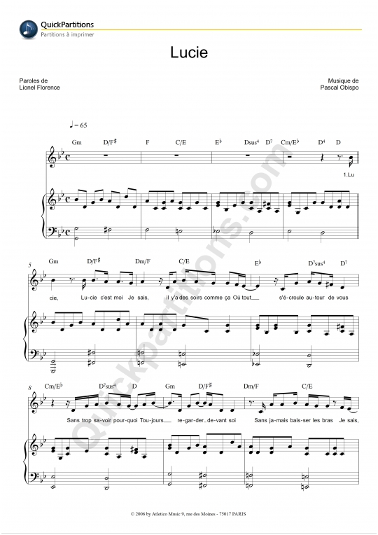 Lucie Piano Sheet Music - Pascal Obispo