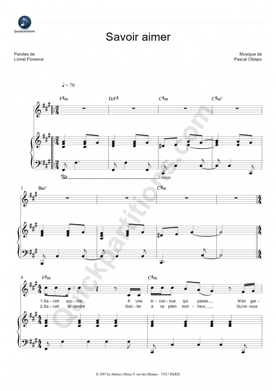 Savoir aimer Piano Sheet Music - Florent Pagny