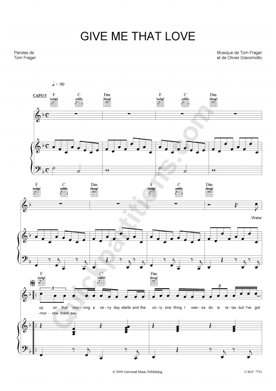 Partition piano Give Me That Love - Tom Frager