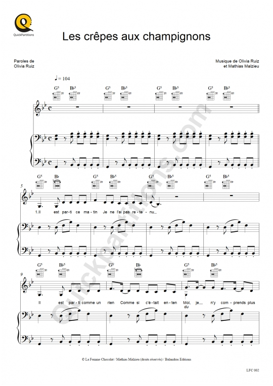 Les crêpes aux champignons Piano Sheet Music - Olivia Ruiz