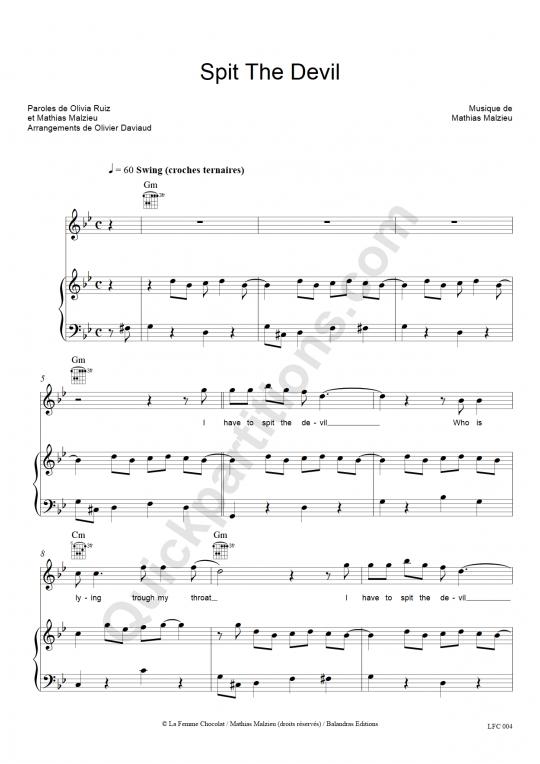 Spit The Devil Piano Sheet Music - Olivia Ruiz