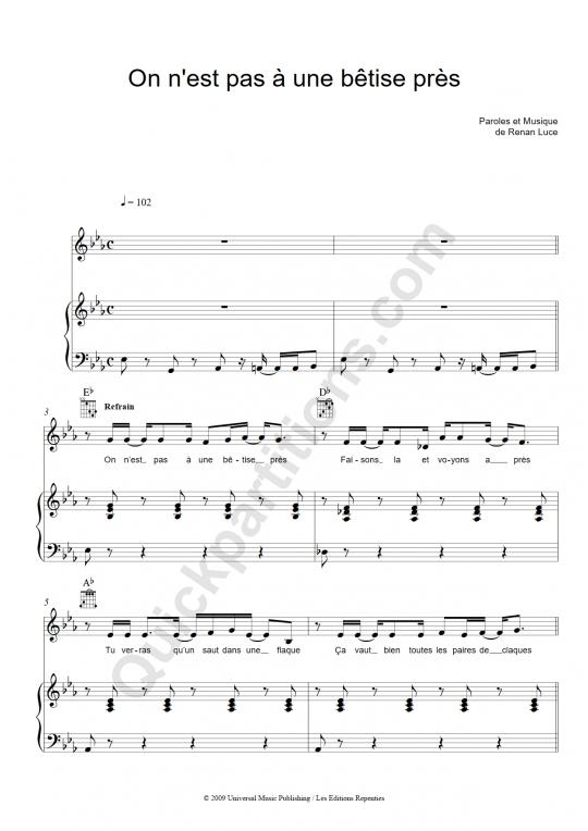 Partition piano On n'est pas à une bêtise près - Renan Luce