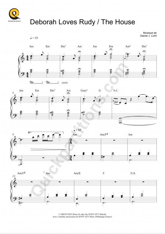 Partition piano Deborah Loves Rudy - The House (BO Dexter) - Daniel Licht