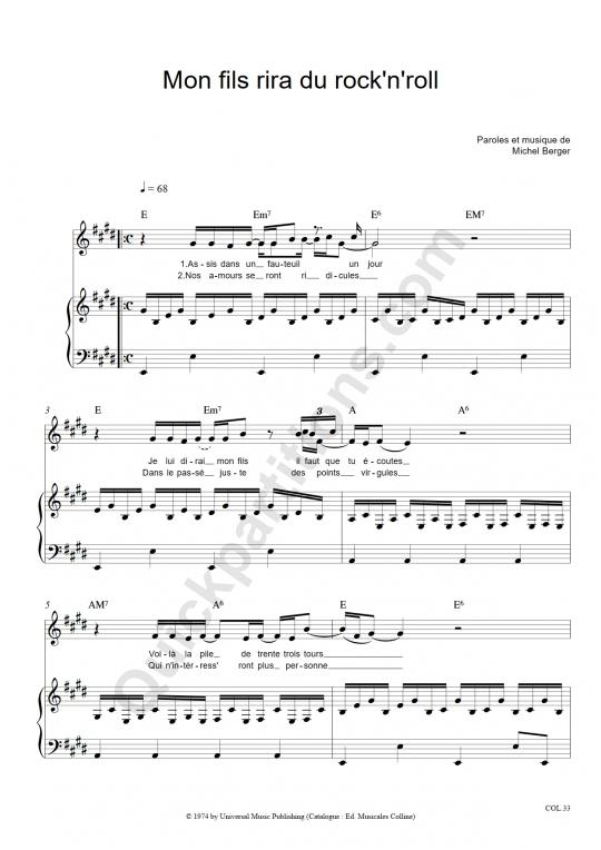 Partition piano Mon fils rira du Rock'n'roll - Michel Berger