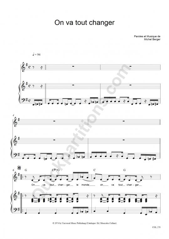 Partition piano On va tout changer - Michel Berger