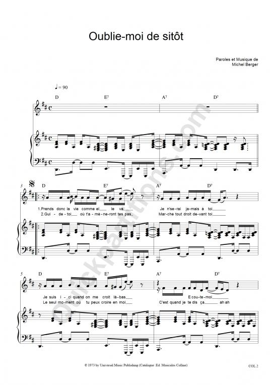Partition piano Oublie-moi De Sitôt - Michel Berger