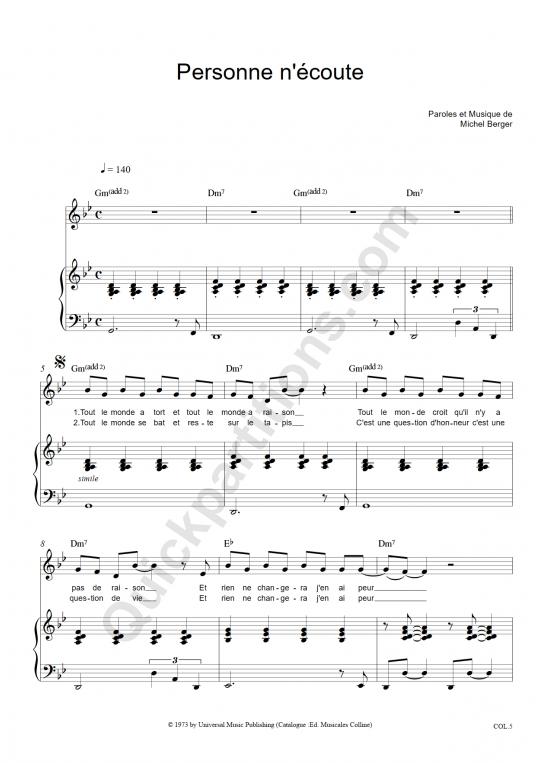 Partition piano Personne n'écoute - Michel Berger