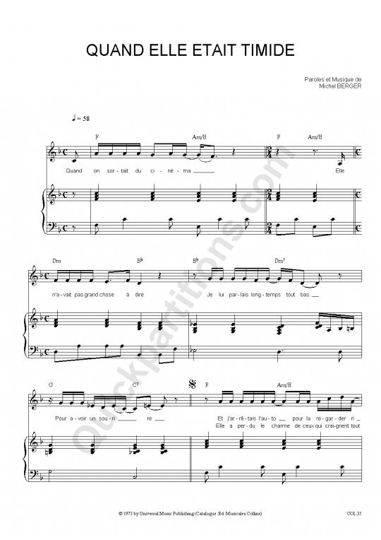 Partition piano Quand elle était timide - Michel Berger