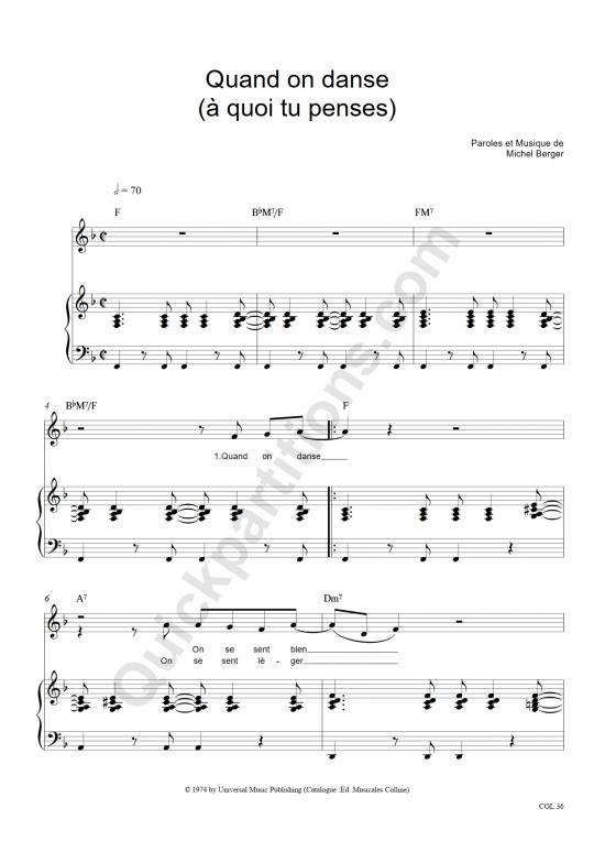Partition piano Quand on danse (A quoi tu penses) - Michel Berger