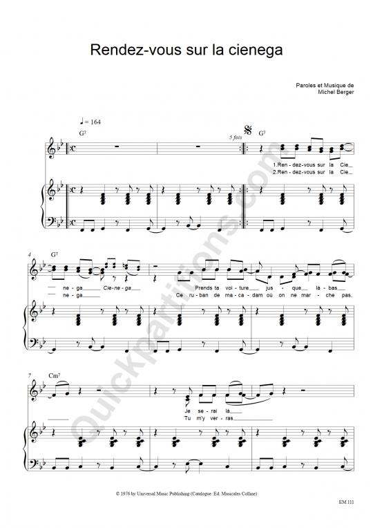 Partition piano Rendez-vous Sur La Cienega - Michel Berger