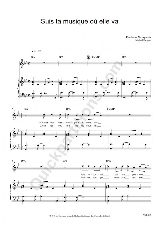 Partition piano Suis ta musique où elle va - Michel Berger