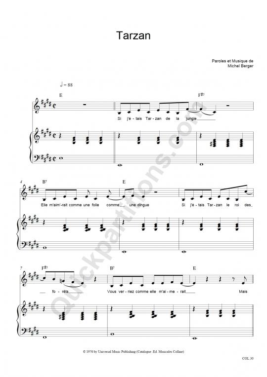 Partition piano Tarzan - Michel Berger