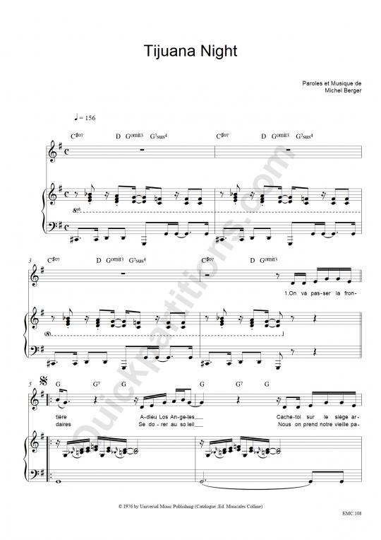 Partition piano Tijuana Night - Michel Berger