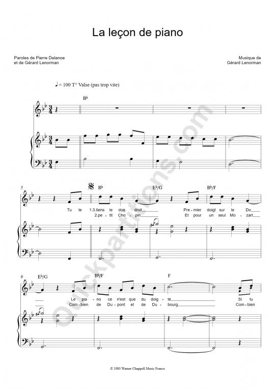 Partition piano La leçon de piano - Gérard Lenorman
